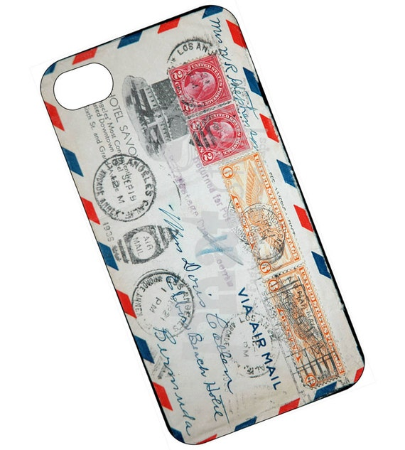 Air Mail Phone case, cover for iPhone 4 and 4s - Vintage Air Mail envelope