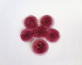 Burgundy Organza Poppies Embellishment