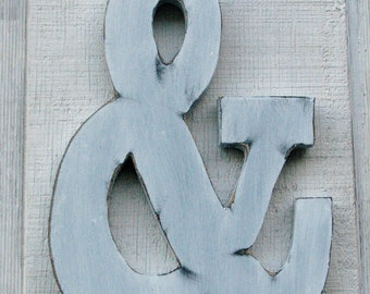 """Big Wooden Rustic Ampersand 12"""" Tall White Distressed Great Wedding Photo Prop Home Decor Game room"""