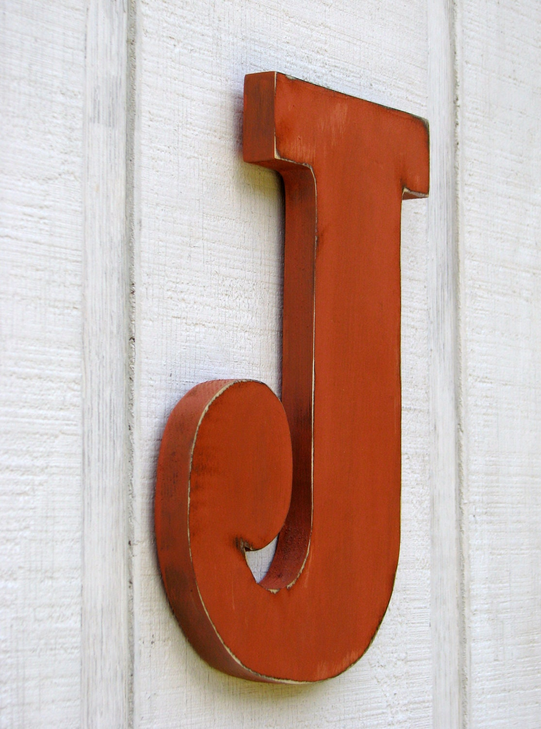 distressed wood letters rustic wooden letter j distressed painted terra cotta12 21380 | il fullxfull.369472997 a0n5