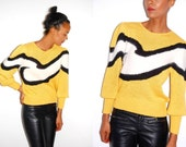 RESERVED ericaprather: Vtg Fuzzy Wave Knitted Yellow Black White Puff Shoulder Sweater