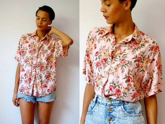 Vtg Floral Tapestry Retro Print SS Button Down Shirt