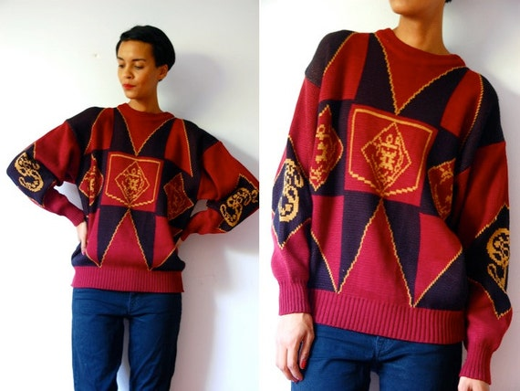 Vtg Burgundy Black Gold Compass Print Grandpa Sweater