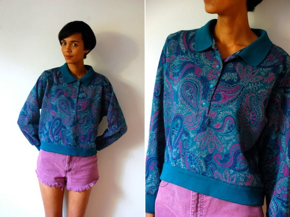 Vtg Paisley Psychedelic Printed Blue Green Purple Collar Sweater