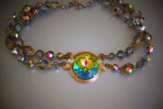Laguna Signed Spectacular Aurora Borealis Glass Bead Necklace with Huge Stone