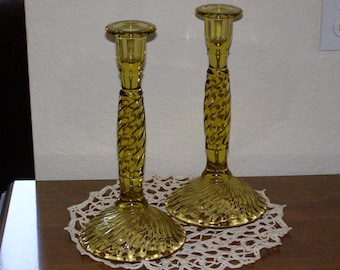 Antique Early Colonial Duncan and Miller Candlesticks Gorgeous Pair Really Tall Swirl Design Amber Glass 1924 to 1927