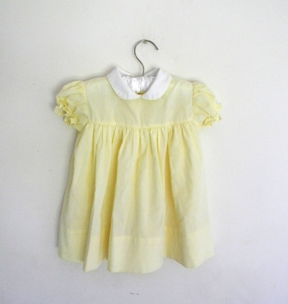 Vintage Baby Dress, Yellow Cotton Infant Dress 3 -6 Months