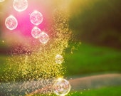 Fine Art Photography -  Nursery kids art home decor magic bubbles pink green fresh sunlight gold photograph prints wall art