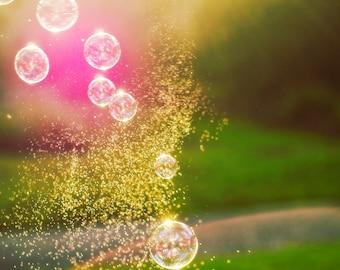 Fine Art Photography -  Nursery kids art home decor magic bubbles pink green fresh sunlight gold photograph prints wall art
