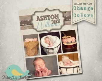 Photography Collage Template Blog Board 16x20 - Sweet Boy