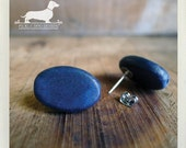 CLEARANCE! Navy Pop. Post Earrings -- (Blue, Wood Studs, Oval Drops, Minimalist. Simple, Fall Fashion, Vintage-Style, Birthday Gift Under 5)