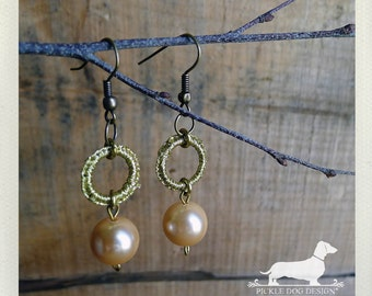 Sun Goddess. Dangle Earrings -- (Vintage-Style, Gold, Pearl, Peach, Elegant, Wedding, Bridesmaid Jewelry, Romantic, Gift for Her Under 10)