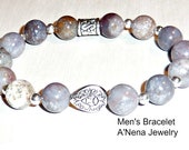 "Men's Bracelet Genuine Grey Jasper And  Silverplated Copper ""The Secret To Being Comfortable In Your Skin """
