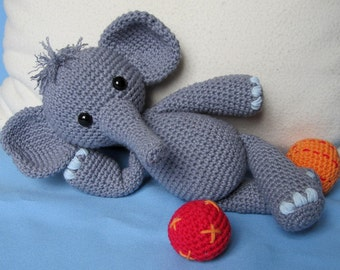 Playful Elephant Bert- Amigurumi Crochet Pattern / PDF e-Book / Stuffed Animal Tutorial