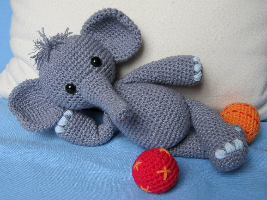 Free Crochet Pattern Stuffed Animals : Playful Elephant Bert- Amigurumi Crochet Pattern / PDF e ...