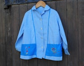 Vintage French cotton school smock or blouse - blue gingham with pretty hand embroidery on the pockets