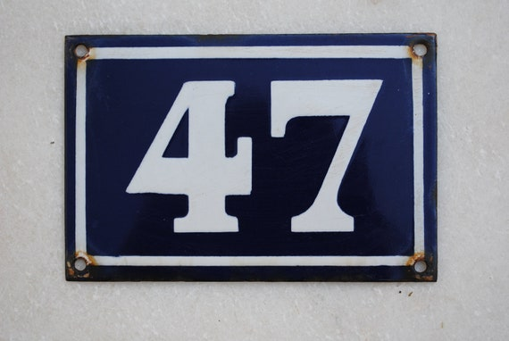 Vintage French enamel house number plaque - 47