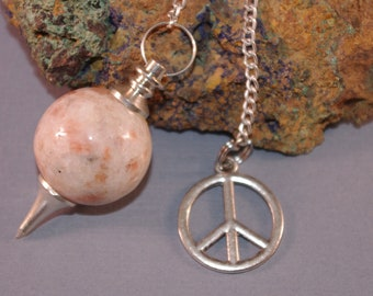 Dowsing Pendulum Gemstone Peace Sign Divination OOAK Gemstone New Age Magick Pagan  Witchy Wicca 125135P