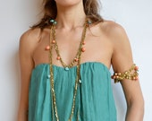 Coral and Turquoise Skulls Midi Necklace