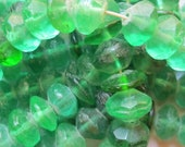 Vintage Green Czechoslovakian Vaseline Beads made of Glass