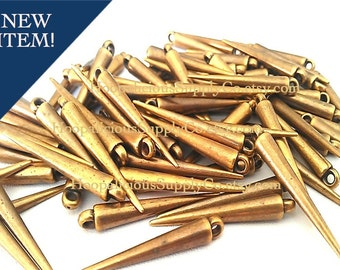NEW - 25 Medium ANTIQUED BRASS Spikes -Made of Acrylic -with Top Loop- 34mm