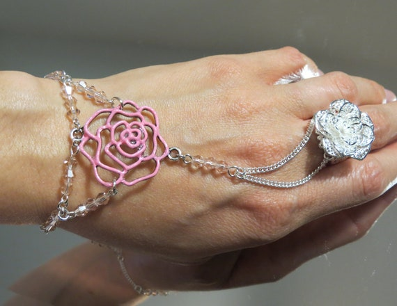 """Pink Rose """"Slave Bracelet"""" Ring. Sterling Silver Chain, jump rings, clasp and ring. Adjustable Filigree Silver Flower Ring. Fits 6 to 8 in"""