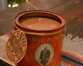 Extra Large Soy Candle in vintage Prince Albert can.  Grandpa's Pipe Blend scent. FREE 2 DAY SHIPPING