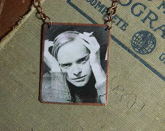 Truman Capote necklace mixed media jewelry author literature jewelry literary jewelry