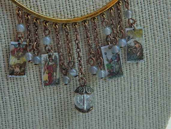 Tarot card necklace fringe style with quartz and moonstone beads divination esoteric mixed media jewelry