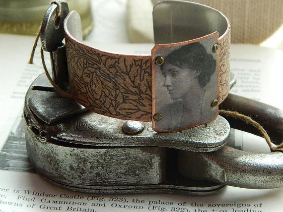 Virginia Woolf cuff bracelet mixed media jewelry literature literary poetry poet