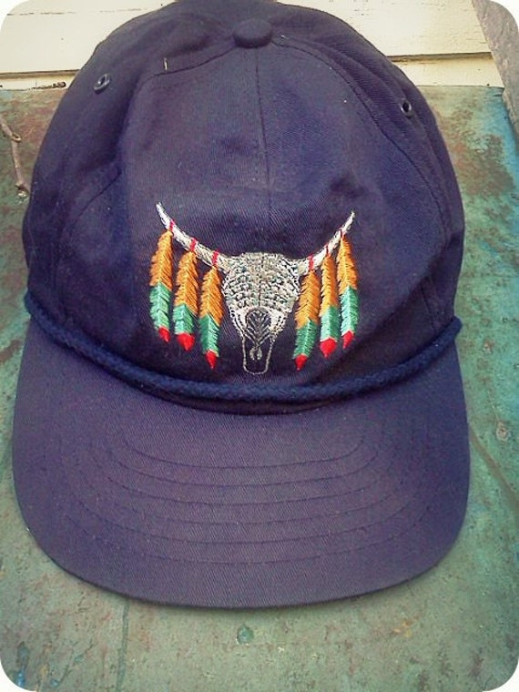 Vintage Southwestern Design Hat with Steer Skull
