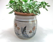 Ceramic planter - whimsicle decoration - signed by artist