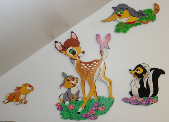 Vintage Walt Disney Bambi Nursery Baby Room Wall Decor Set