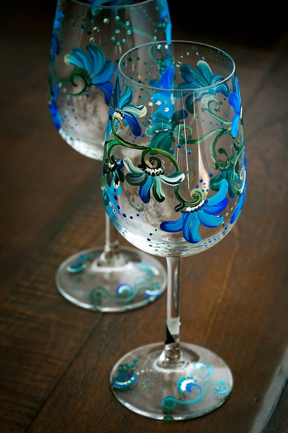 Items Similar To Floral Blue Decorated Hand Painted Wine