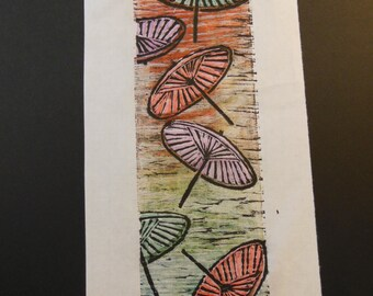 Japanese Umbrellas hand carved woodblock print Japanese washi paper signed Clark