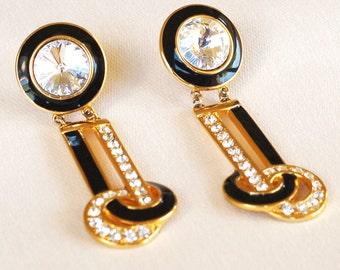 Huge Rhinestone Rivoli Earrings