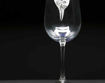Etched Wine Glasses / Set of two - Woodpecker