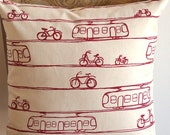 handmade cushion cover screen printed in red trams design on organic raw cotton fabric