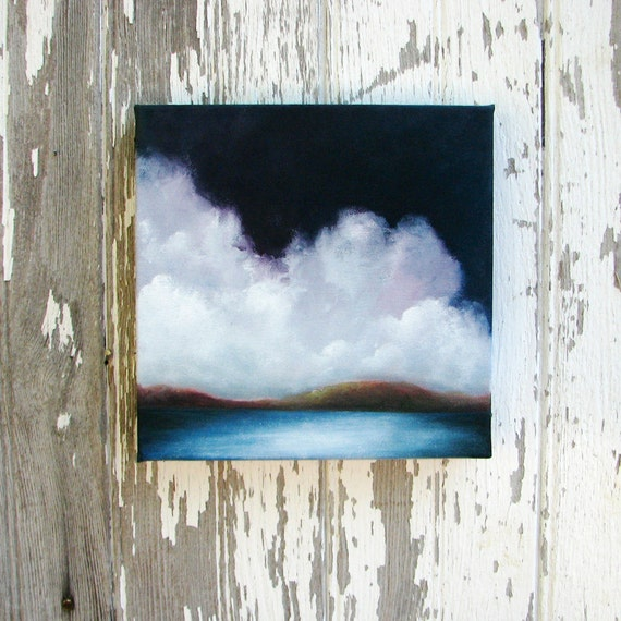 Seascape oil painting original art blue coastline mountains storm clouds home decor painting 8x8  - Aim for the Hills