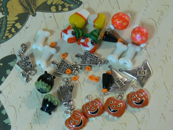 Halloween Lampwork Glass Beads Candy Corn Witch's Caldron Destash Witch Hats