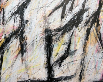 7-19-12 two (abstract painting, black, white, cream, red, gold. yellow)
