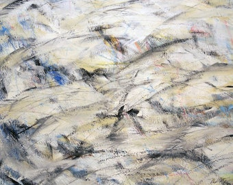 11-29-12 one (blue / black / grey / white / gold abstract expressionist painting )