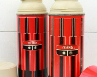 Vintage Red Plaid Thermos Set of two