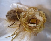 Feather Flower Fascinator Recital Flower with Refashioned Silk FlowerLace and Gorgeous Amber Stone Accent