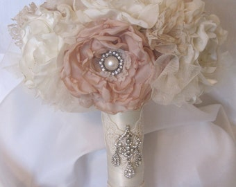 Wedding Bouquet Vintage Inspired Fabric Brooch Bouquet  In Ivory and Champagne with Pearls Rhinestones and Lace Custom Made to Your Colors