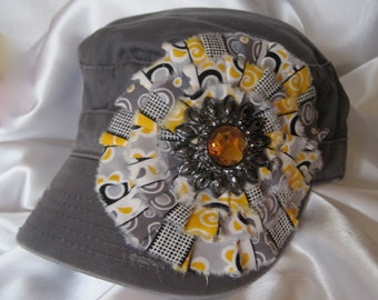 Sale... Cadet  Grey Military Distressed  Army Hat with a Variegated Mustard Grey  Flower and a Gorgeous Flower Accent