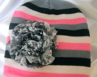 Toddler Girls Pink Black White and Grey Striped Beanie with a Grey Variegated Chiffon Flower Fits Up to 6 months