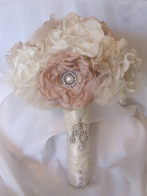 Wedding Bouquet Vintage Inspired Flower Brooch Bouquet Ivory and Champagne with Rhinestone and Pearl Accents Custom Made to Your Colors
