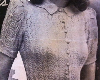1940s fashion- Feminine Fancy Nancy - lacy knit- Australian knitting Epattern (PDF) b32 b34 b36