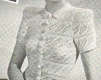 1940s design - Buttercup Betty Knitted Lace Blouse- b32 b34 b36- Australian knitting ePattern (PDF)